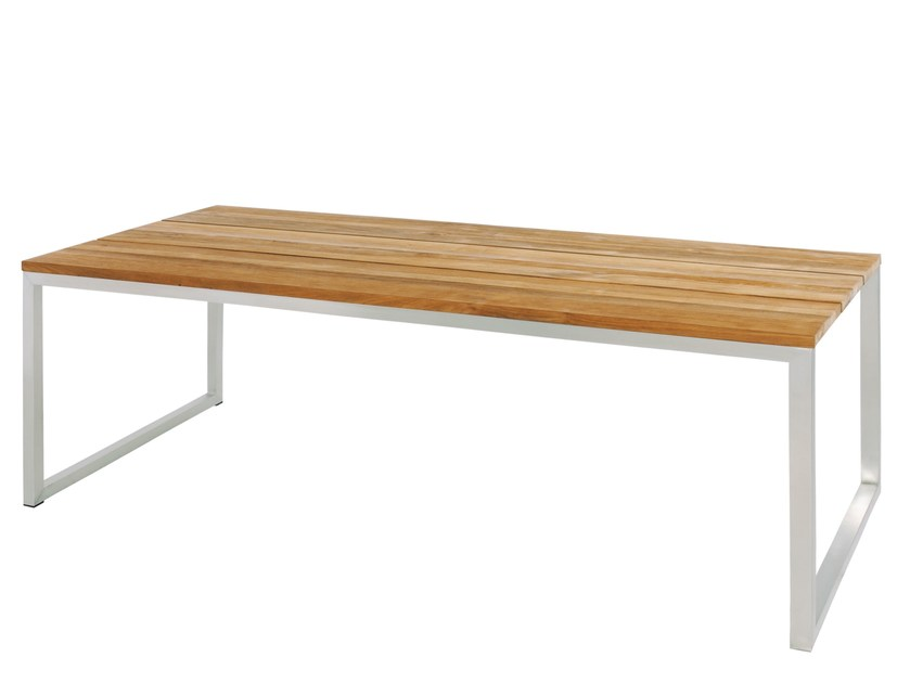 Rectangular stainless steel and wood garden table OKO Dining Table 200x90 cm by MAMAGREEN