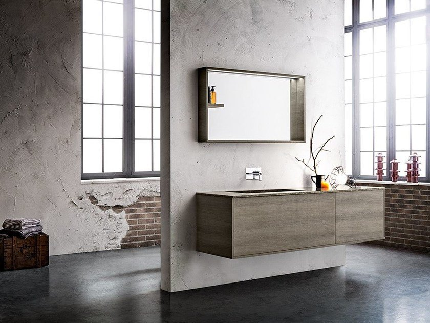 Wall-mounted vanity unit with mirror MINIMAL PLAY 10/13 by Cerasa