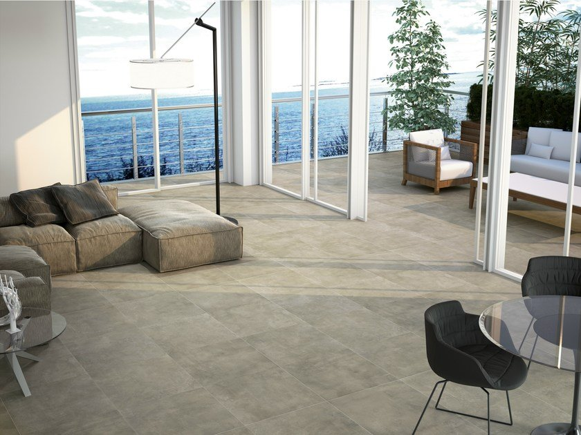 Indoor/outdoor porcelain stoneware flooring with concrete effect HULK by APE CERAMICA