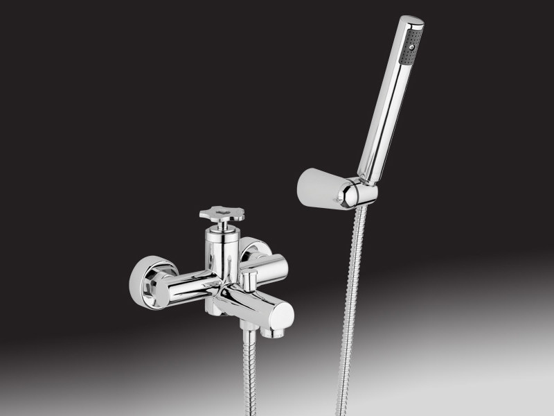 Wall-mounted single handle bathtub tap with hand shower GIÒMIX | Bathtub tap with hand shower - Giulini G. Rubinetteria