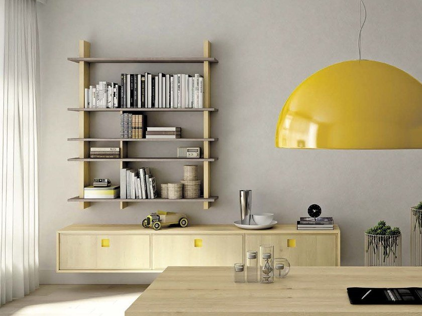 Open wall-mounted bookcase LUI-O-LEI by Domus Arte