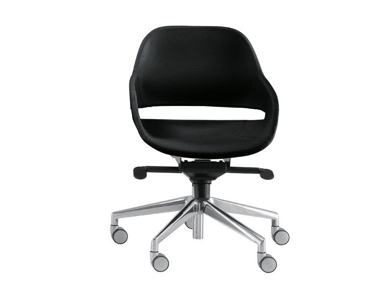 Swivel easy chair with 5-spoke base with casters EVA 2270 - Zanotta