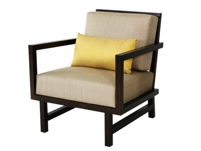 Wooden armchair with armrests CUBULAR | Armchair - WARISAN