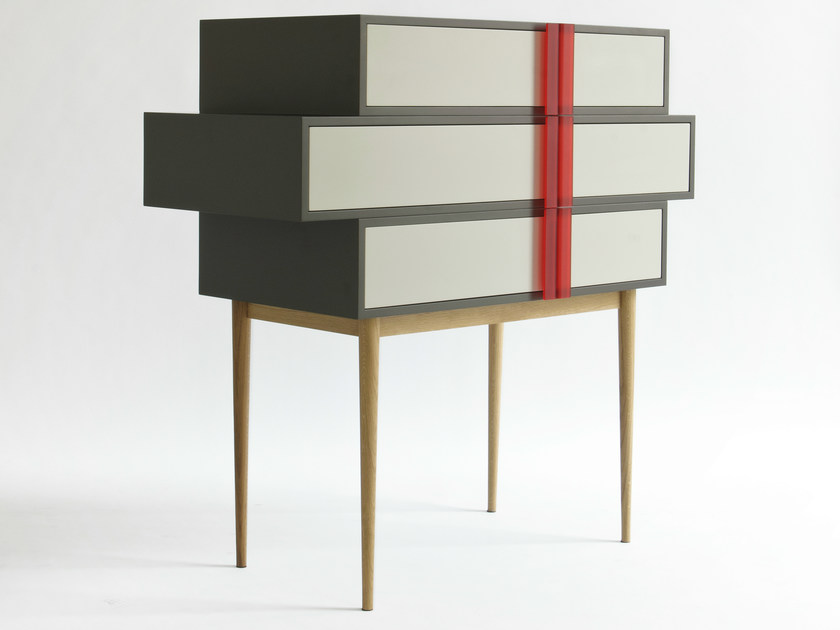Wallstanding MDF chest of drawers A-LINE by Colé Italia