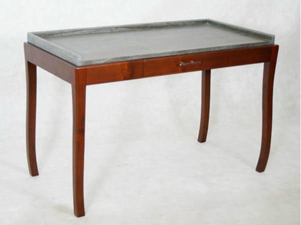Rectangular wooden writing desk with drawers DUO | Writing desk - WARISAN