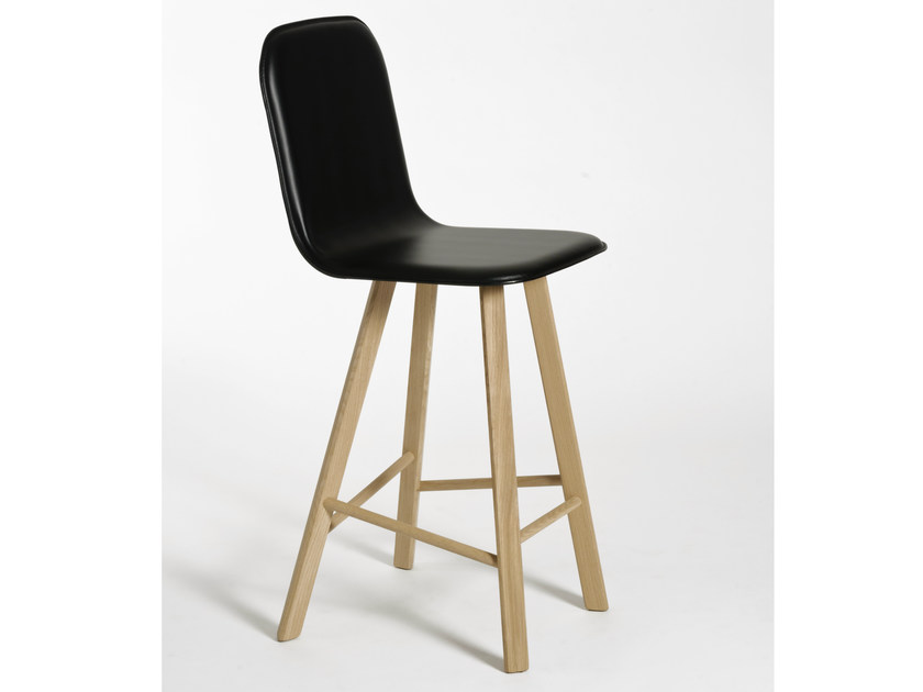 Leather counter stool with footrest TRIA | Chair with footrest - Colé Italian Design Label