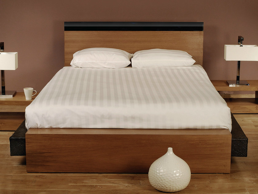 Wooden bed with high headboard PLANUS | Bed - WARISAN