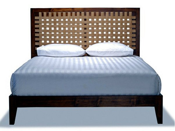 Wooden bed with high headboard SANTAI | Bed - WARISAN