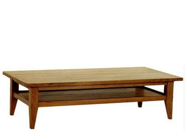 Rectangular wooden coffee table with integrated magazine rack BASIC | Coffee table with integrated magazine rack - WARISAN