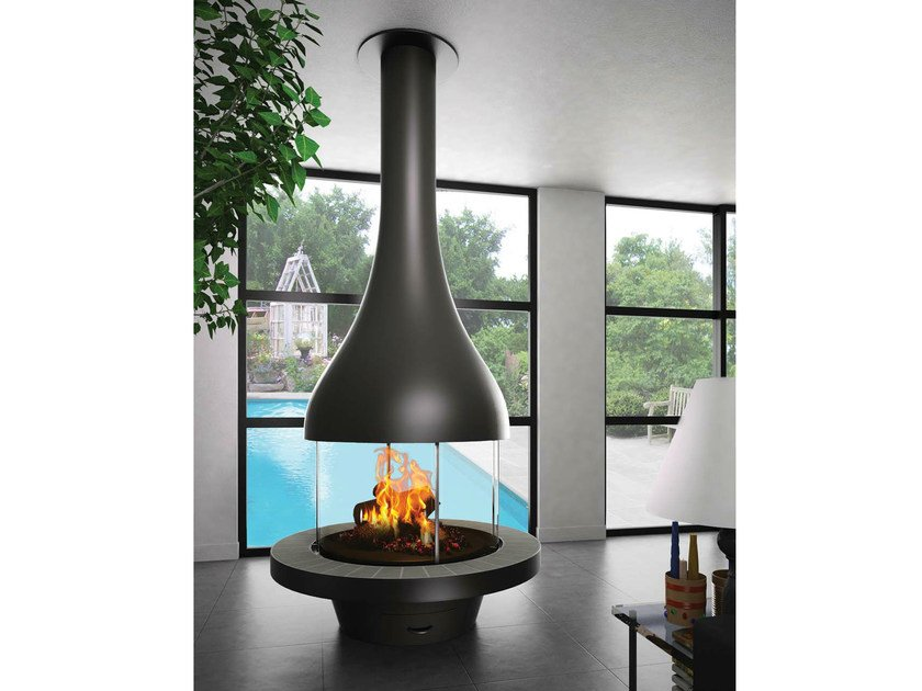 Central fireplace with panoramic glass ALEXIA 995 - JC Bordelet Industries