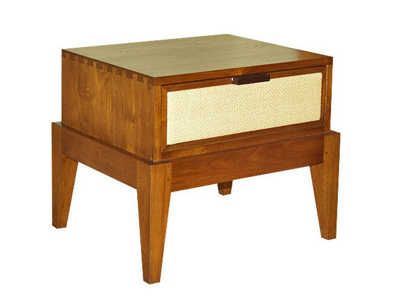 Rectangular wooden bedside table RIKO | Bedside table - WARISAN
