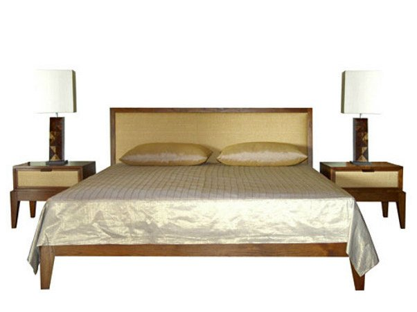 Wooden double bed with high headboard RIKO | Bed - WARISAN