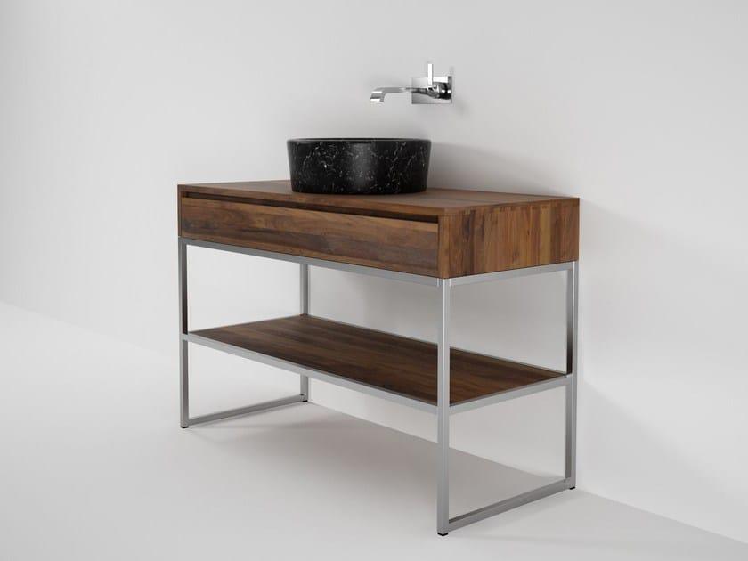 Floor-standing single wooden vanity unit DUKE | Single vanity unit - KARPENTER