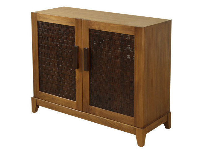 Wood and glass sideboard with doors FUSION | Sideboard - WARISAN