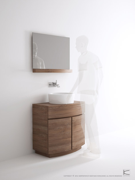Floor-standing single wooden vanity unit MILES | Floor-standing vanity unit - KARPENTER