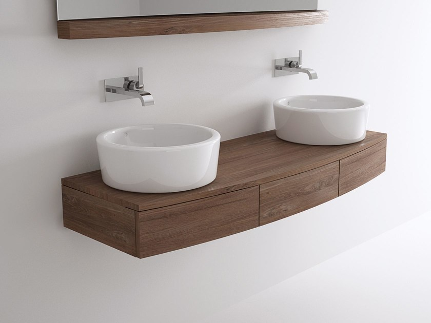 Double wall-mounted wooden vanity unit MILES | Double vanity unit - KARPENTER