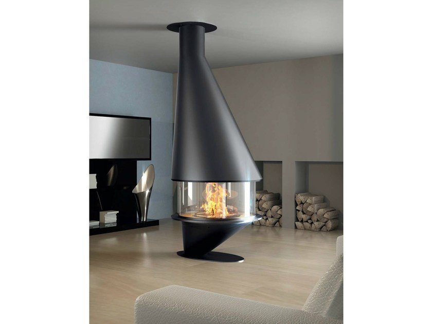 Central closed fireplace with panoramic glass OCEA 911 - JC Bordelet Industries