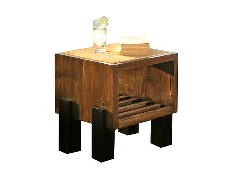 Square wooden coffee table with integrated magazine rack MIRAI | Square coffee table - WARISAN