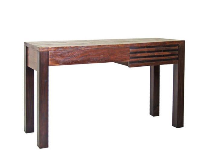 Rectangular wooden writing desk with drawers MIRAI | Writing desk - WARISAN