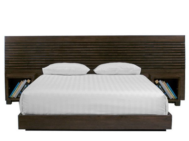 Wooden headboard with integrated nightstands MIRAI | Headboard - WARISAN