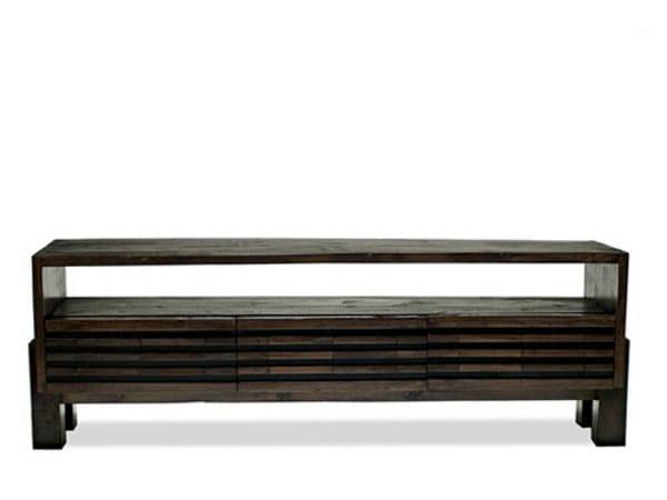 Low wooden TV cabinet MIRAI | Low TV cabinet - WARISAN