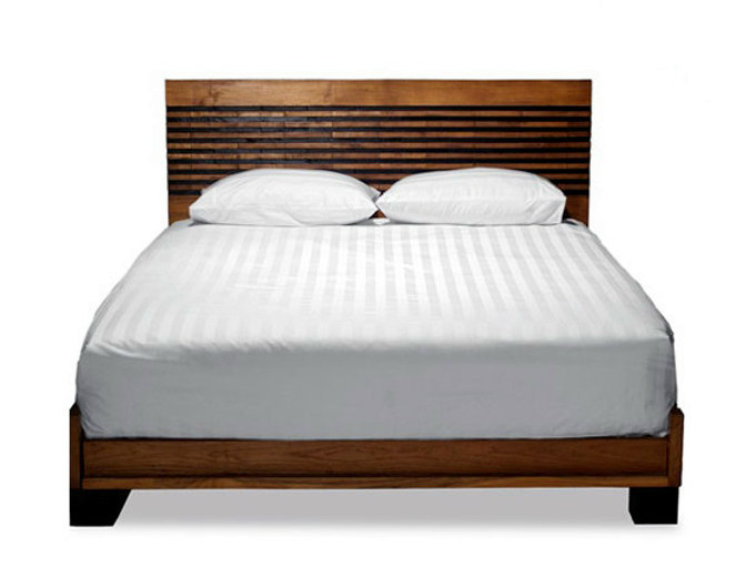 Wooden double bed with high headboard MIRAI | Bed - WARISAN