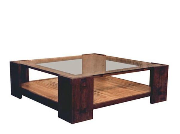 Tavolino quadrato in legno e vetro con portariviste da for Tavolino da salotto in cristallo