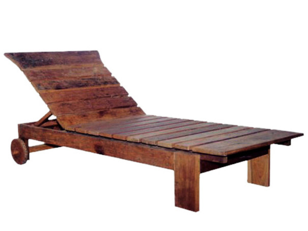 Wooden garden daybed with Casters NEO PRIMITIVE | Garden daybed - WARISAN