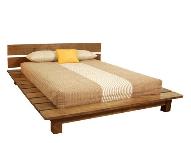 Wooden bed with high headboard NEO PRIMITIVE | Wooden bed - WARISAN