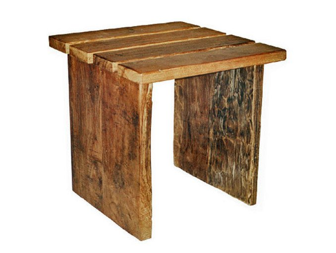 Square wooden coffee table for living room NEO PRIMITIVE | Garden side table - WARISAN