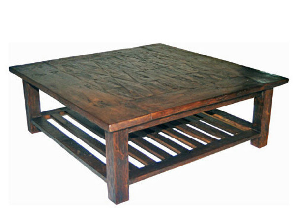 Wooden coffee table with integrated magazine rack for living room INLAID | Coffee table - WARISAN