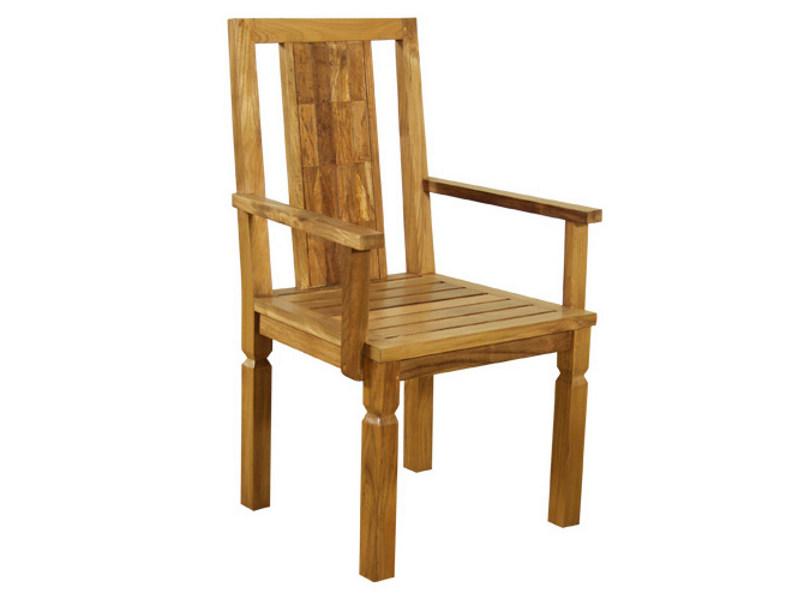 Teak chair with armrests INLAID | Chair with armrests - WARISAN