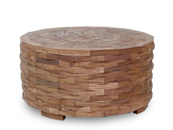 Round wooden coffee table for living room ORIGINS | Round coffee table - WARISAN