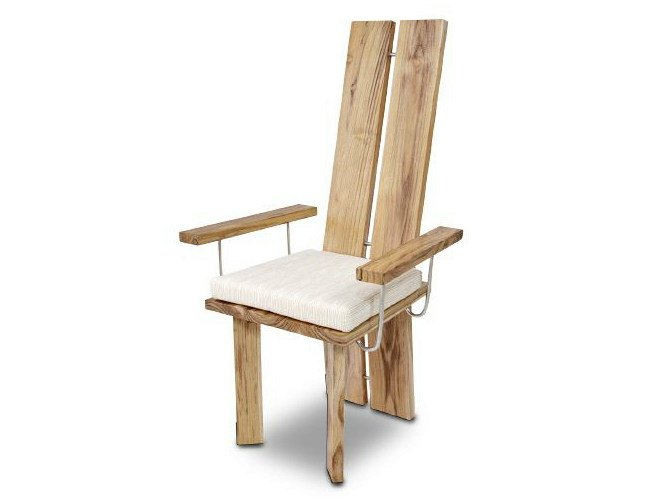 High-back wooden chair with armrests ORIGINS | Chair with armrests by WARISAN
