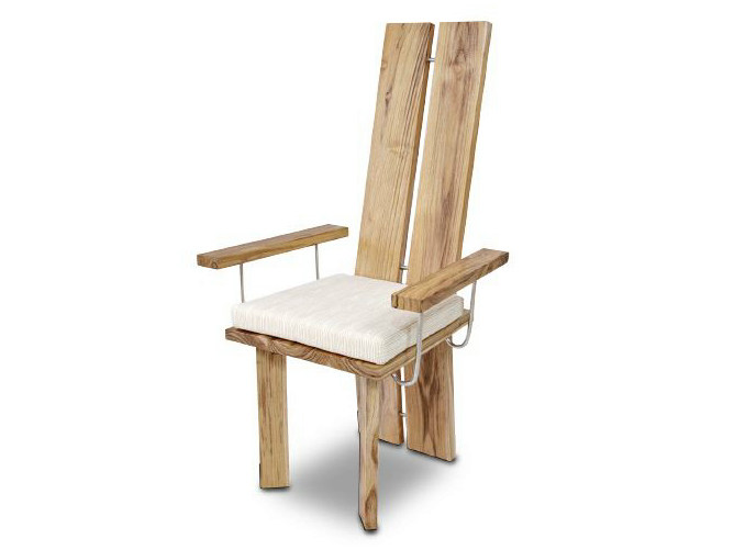 High-back wooden chair with armrests ORIGINS | Chair with armrests - WARISAN