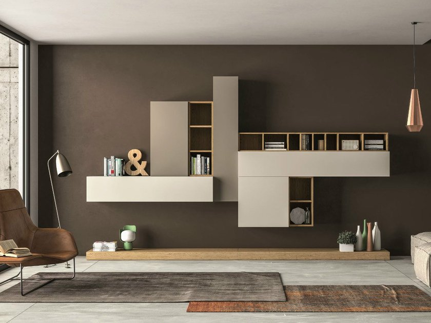 Sectional storage wall SLIM 104 by Dall'Agnese