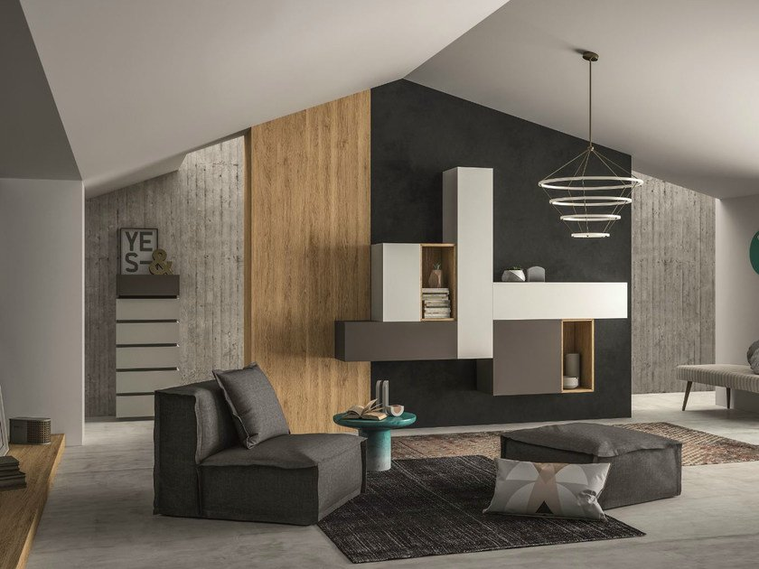 Sectional storage wall SLIM 108 by Dall'Agnese