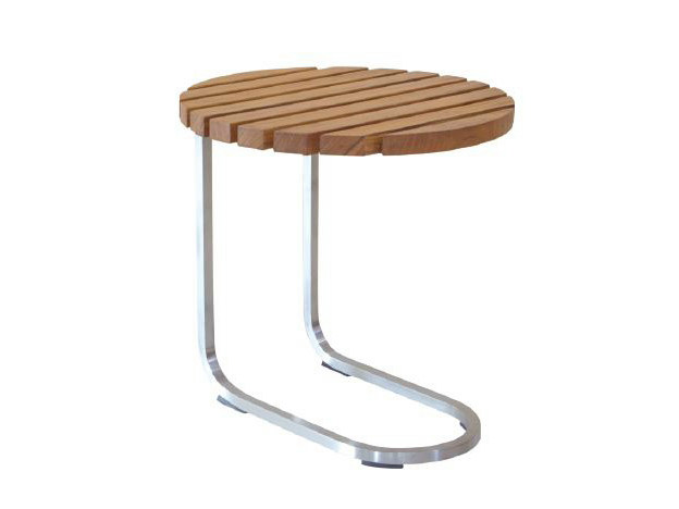Round aluminium and wood coffee table GARIS | Round coffee table - WARISAN