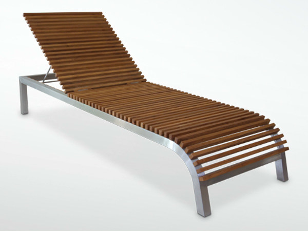 Recliner aluminium and wood garden daybed GARIS | Garden daybed - WARISAN