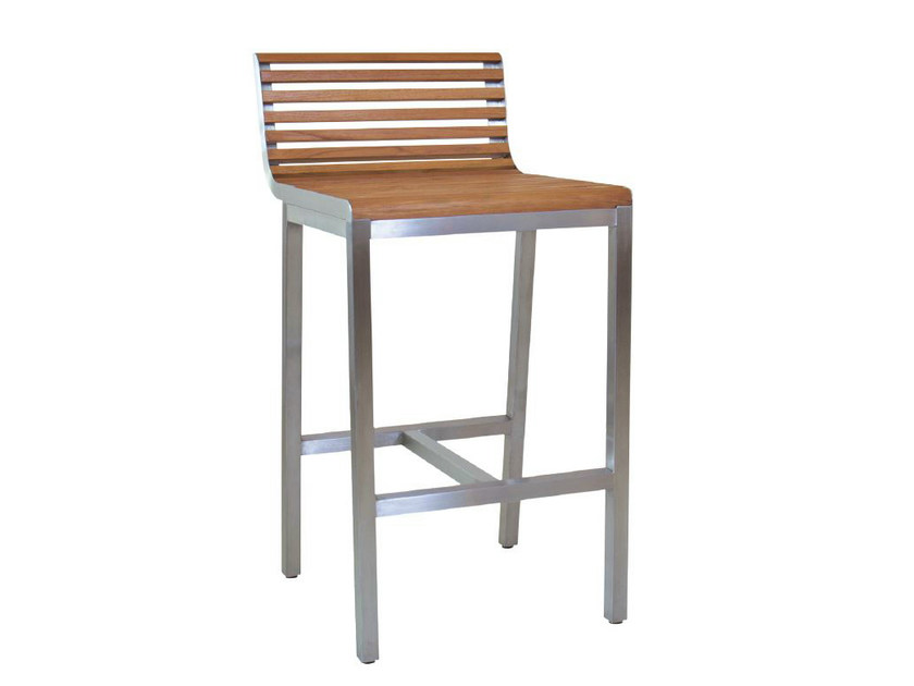 Aluminium and wood counter stool with footrest GARIS | Counter stool - WARISAN