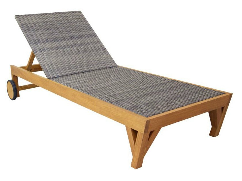 Recliner wooden garden daybed with Casters NEO ANGULO | Garden daybed - WARISAN