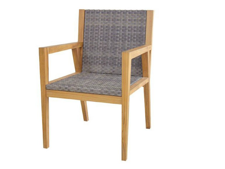 Wooden garden chair with armrests NEO ANGULO | Wooden chair - WARISAN