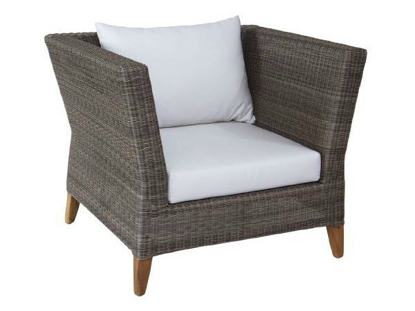 Contemporary style upholstered wooden garden armchair with armrests SHELLY | Armchair - WARISAN