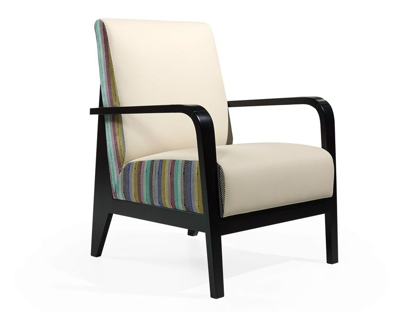Upholstered easy chair with armrests TIMES MASS by Fenabel