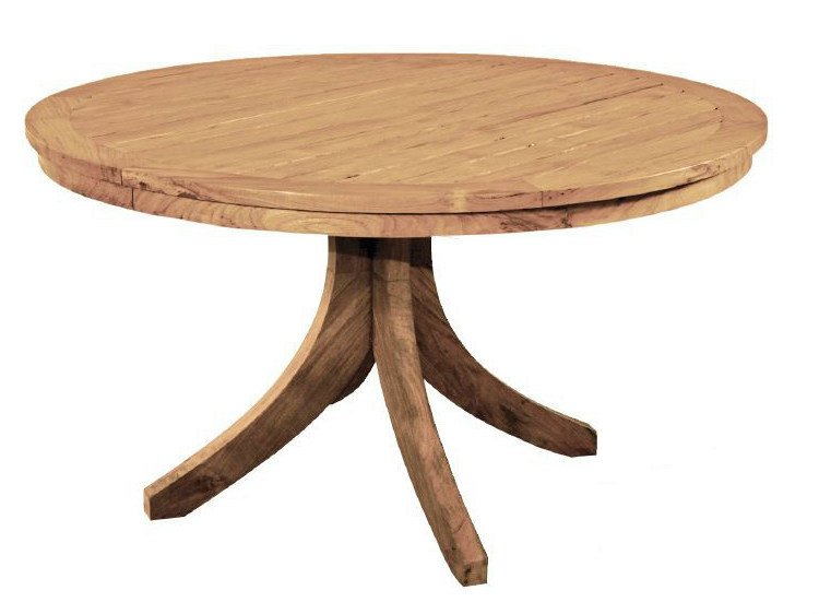 Wooden garden table with 4-star base SPLAYED | Round table - WARISAN