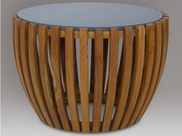 Round wooden garden side table RUSUK | Coffee table by WARISAN