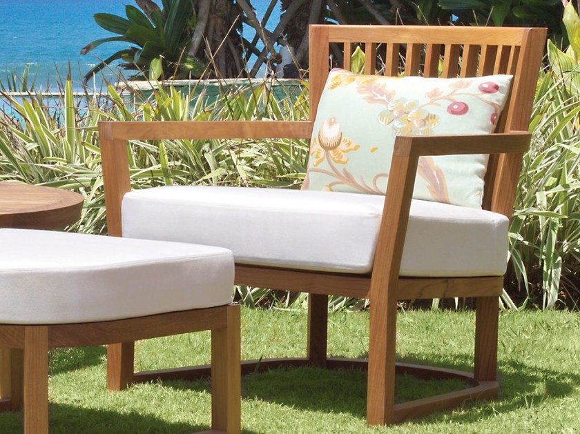 Wooden garden armchair with armrests KOROGATED | Armchair - WARISAN