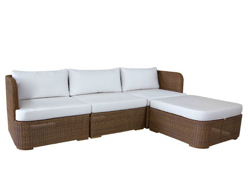 3 seater rattan garden sofa with chaise longue TEABU | Sofa - WARISAN