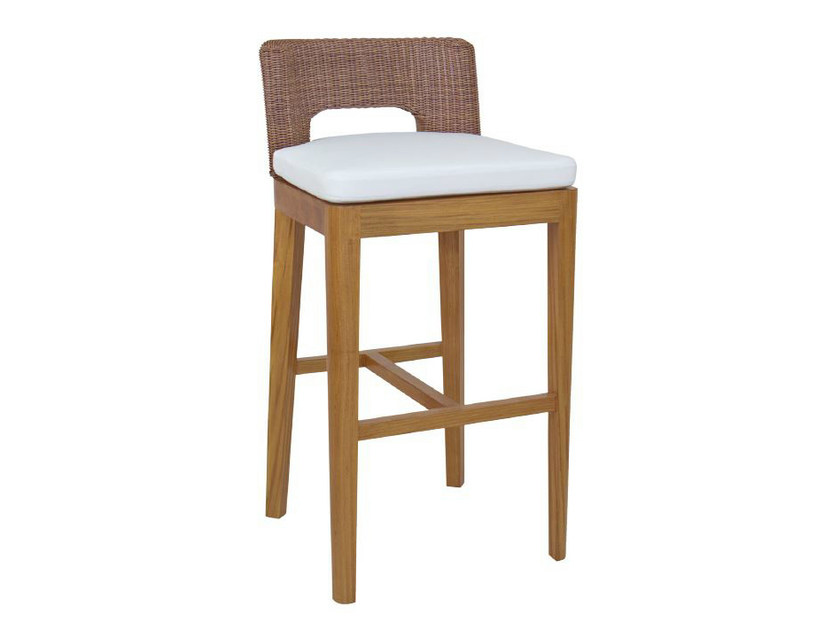 Wooden counter stool with footrest TEABU | Counter stool - WARISAN
