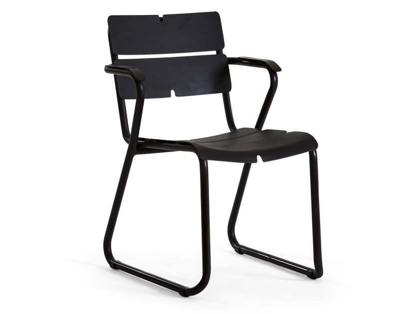 Sled base aluminium chair with armrests CORAIL | Chair with armrests - OASIQ